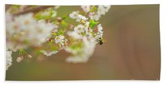 Bee On A Cherry Blossom Bath Towel