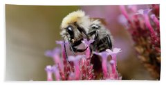 Hand Towel featuring the photograph Bee On A Verbena Bonariensis by Nick Biemans