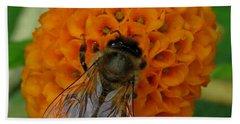 Bee On An Orange Ball Buddleia Hand Towel