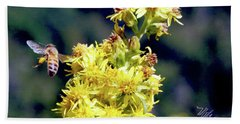 Bee On Goldenrod Bath Towel