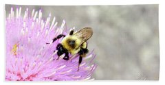 Bath Towel featuring the photograph Bee On Pink Bull Thistle by Meta Gatschenberger