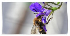 Bee On Purple Flower Hand Towel