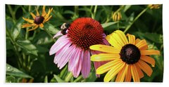Bee On The Cone Flower Hand Towel