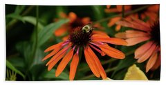 Bee Pollinating On A Cone Flower Bath Towel