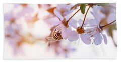 Bee Pollinates Spring Cherry Hand Towel