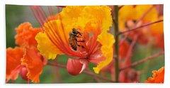Bee Pollinating Bird Of Paradise Bath Towel