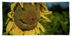 Bee Smiling Sunflowers Bath Towel