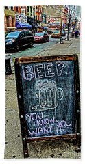 Bath Towel featuring the photograph Beer Sign by Sandy Moulder