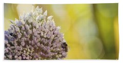 Bees On Garlic Blossom Bath Towel