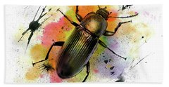 Beetle Illustration Bath Towel