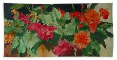 Begonias Flowers Colorful Original Painting Hand Towel