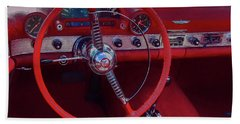 Behind The Wheel 55 Ford Thunderbird Hand Towel