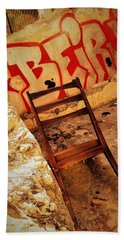 Beirut Graffiti With A Lonely Chair  Hand Towel