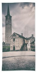 Bath Towel featuring the photograph Bell Tower In Italian Village by Silvia Ganora