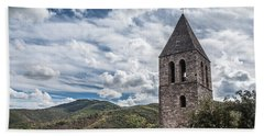 Bell Tower Of The Old Church, Olargues France Bath Towel