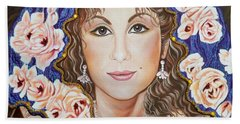 Bath Towel featuring the painting Bella Donna Italian Girl by Sigrid Tune