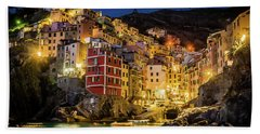 Riomaggiore At Night Hand Towel