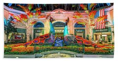 Bellagio Conservatory Fall Peacock Display Panorama 3 To 1 Ratio Hand Towel
