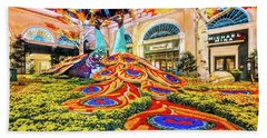 Bellagio Conservatory Fall Peacock Display Side View Wide 2017 Hand Towel