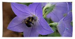 Hand Towel featuring the photograph Bellflower And Bee  by Marie Hicks