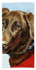Beloved Dog Portrait  Bath Towel