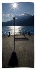 Bench And Street Lamp Hand Towel