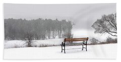 Bench In Snow Hand Towel
