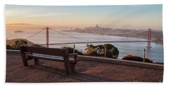 Bench Overlooking Downtown San Francisco And The Golden Gate Bri Bath Towel