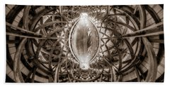 Beneath The Arches Of Pont Bordeleau Bridge - Bw Bath Towel