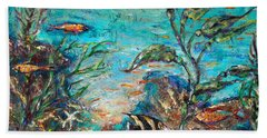 Bath Towel featuring the painting Beneath The Waves by Linda Olsen
