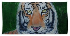 Bath Towel featuring the painting Bengal Tiger by Stacy C Bottoms