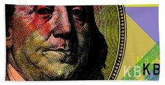 Bath Towel featuring the digital art Benjamin Franklin - $100 Bill by Jean luc Comperat