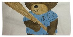 Bath Towel featuring the painting Benny Bear Baseball by Tamir Barkan