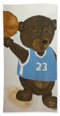 Bath Towel featuring the painting Benny Bear Basketball  by Tamir Barkan