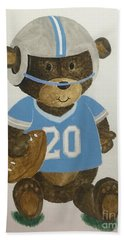 Bath Towel featuring the painting Benny Bear Football by Tamir Barkan
