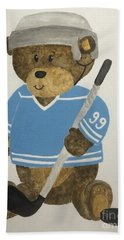 Bath Towel featuring the painting Benny Bear Hockey by Tamir Barkan
