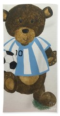 Bath Towel featuring the painting Benny Bear Soccer by Tamir Barkan