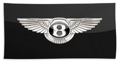 Bentley - 3 D Badge On Black Bath Towel