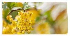 Berberis Yellow Flowering Shrub Detail Bath Towel