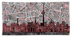 Berlin City Skyline Abstract Hand Towel by Bekim Art
