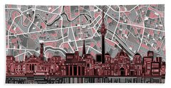 Berlin City Skyline Abstract Bath Towel