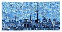 Berlin City Skyline Abstract Blue Bath Towel by Bekim Art