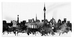 Berlin City Skyline Black And White Hand Towel by Bekim Art