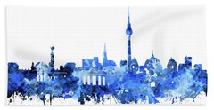 Berlin City Skyline Blue Hand Towel by Bekim Art
