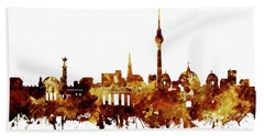 Berlin City Skyline Brown Bath Towel by Bekim Art