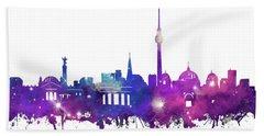 Berlin City Skyline Galaxy Hand Towel by Bekim Art