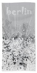 Berlin City Skyline Map 2 Hand Towel by Bekim Art