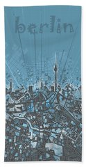 Berlin City Skyline Map 3 Hand Towel by Bekim Art