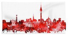 Berlin City Skyline Red Bath Towel by Bekim Art