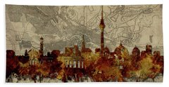 Berlin City Skyline Vintage Bath Towel by Bekim Art